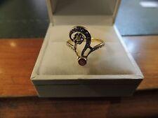 Bague ancienne or jaune et blanc 18 carats,diamants taille ancienne et rubis