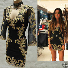 Karen Millen Celebrity Baroque Black Gold Lace Embroidered Overlay Dress 12 UK