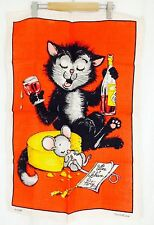 Dunmoy Vintage 60's Teatowel. Drunk Cat And Mouse.