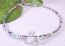 Summer Seed Bead Anklets adorned with Swarovski Crystal Butterfly