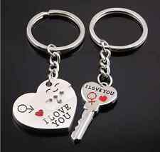 """I Love You"" Heart+Arrow +Key Couple Key Chain Ring Keyring Keyfob Lover Sale PS"