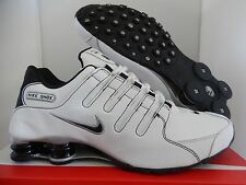 MEN'S NIKE SHOX NZ WHITE-BLACK-METALLIC SILVER SZ 9 [378341-190]