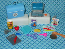 Barbie Doll Size 20 pc SCHOOL DESK TEACHER ACCESSORY LOT Chalk Box LapTop Books
