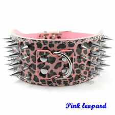 "3"" Wide New Adjustable Spiked Studded PU Leather Pet Dog Collar For Pitbull"