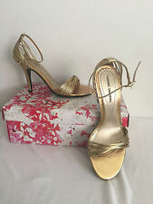 "Chinese Laundry Willy Gold Shimmery Ankle Strap 4"" Heel Strappy Sandal Size 6M"