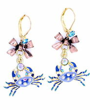 Vintage retro style blue enamel crab hanging from a bronze bow dangle earrings