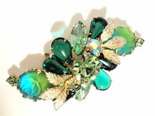 JULIANA BLUE GREEN ROSE Art Glass Crystal RHINESTONE GOLD LEAF BROOCH PIN NICE!