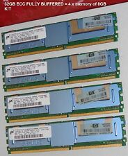 32GB RAM KIT 4*8GB PC2-5300F DDR2 667MHZ 2Rx4 MICRON SERVER WORKSTATION MEMORY