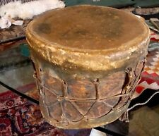 RARE OLD ANTIQUE AMERICAN INDIAN DRUM FROM MUSEUM MID 1800'S PAINTED DESIGNS NR