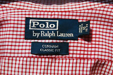 Polo Ralph Lauren Curham 15.5/32-33 Red Check Gentleman's 100% Cotton LS Shirt