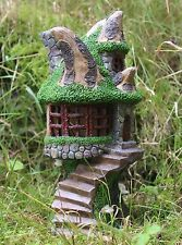 Solar Powered Decorative Secret Fairy Garden Ornament Tree Log House colour LED
