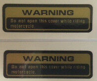 SUZUKI XN85 TURBO WARNING CAUTION RESTORATION WARNING DECALS X 2