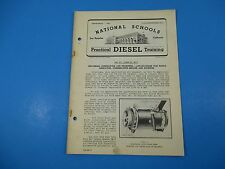 1940's Diesel Training National Schools Tool Kit Lesson #DK-4 Generator Rep M930