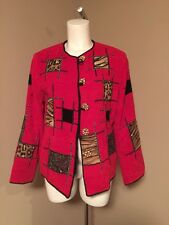 Woman's 100% Rayon Button Down Jacket by Allure Boutique~ Red ~ Medium