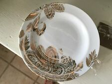 NICOLE MILLER HOME NEW W ORIGINAL TAG 4 APPETIZER PLATES GOLD PAISLEY