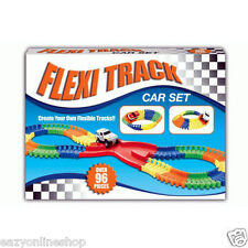 Flexible Track Car Set B/O Make Your Own Track 96 Pieces Kids Toys Children TY45