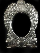 Large English victorian style sterling silver picture frame with Armorial Crest