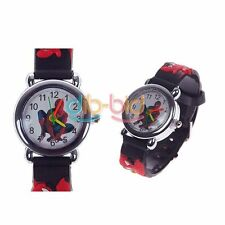 Spider Cartoon Child Boys Kids Analog Quartz Wrist Watch Rubber Leather Gift SS