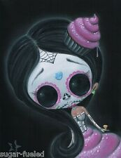 SUGAR FUELED SKULL LOWBROW DAY OF THE DEAD DOLL CREEPY CUTE BIG EYE ART PRINT