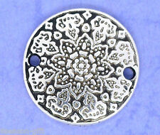 20 Gift Silver Tone Flower Charm Connectors Beads 19mm Dia.