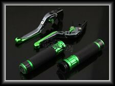Carbon Hand Grips+Adjustable Levers For Kawasaki Ninja250R ZX250 2008-2015 Green