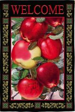 NEW LARGE EVERGREEN AUTUMN FALL FLAG DAPPLED APPLES WELCOME 2 SIDED 29 x 43