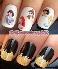 Nail Art Set 517 Disney Princess ariel/snow Agua transfers/stickers & Hoja De Oro