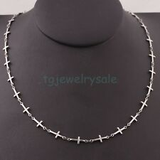 Womens Fashion Cross Choker 316L Stainless Steel Necklace Jewelry Chain 18""