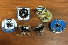 6 San Jose Sharks NHL Hockey Pin, Pin-Back Early 1990s Home & Away Jersey