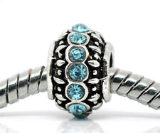 Blue Rhinestone March Birthstone Ring Bead fits Silver European Charm Bracelets