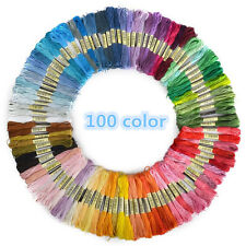 100x Mix Colors Cross Stitch Cotton Sewing Skeins Embroidery Thread Floss Kit