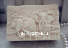 1pcs Elephant Lovers(zx124) Silicone Handmade Soap Mold Crafts DIY Mould