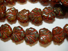 10 beads - Amber Opal Picasso Czech Glass Maple Leaf Beads 11x12mm