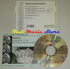 CD DIMITRI MITROPOULOS Symphony 1 titan MAHLER minneapolis orchestra lp mc dvd