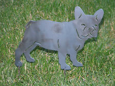 French Bulldog yard garden and home art decor statue stake metal