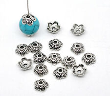 100Pcs Silver Tone Flower End Beads Caps Jewelry Making Findings Component 10mm