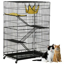 New Cat Cage Puppy Playpen Pet Folding Crate Safe Model Wire Metal w/ Caster