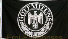 Fahne Flagge Militaria Gott Mit Uns , Adler  Deutschland  Schwarz Weiss   # 366