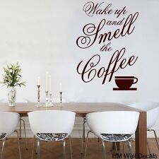 "Wall Quote Vinyl Decal ""Wake up and smell the coffee"" for your home or cafe"