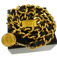 Authentic CHANEL Vintage CC Logos Medallion Chain Belt Gold-Tone Leather V08777