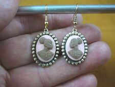 CAE1-23) RARE African American LADY brown + pink CAMEO dangle Earrings JEWELRY