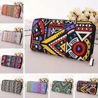 Women Canvas Purse Lady Geometric Print Long Handbag Wallet Bohemia Zip Pocket