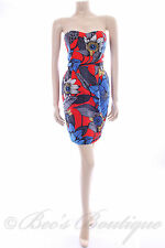 New Womens Size 8 Dress Blue Red White Evening Cocktail Party Sexy Wiggle