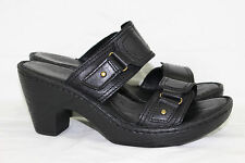 """BORN SANDALS """"BELLOT"""" TWO BAND SLIDE WOMEN'S SIZE 6/36.5 BLACK ~LEATHER~ NICE!"""
