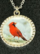 """Cardinal Red Bird Head Turned Charm Tibetan Silver with 18"""" Necklace"""
