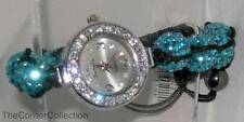 MACRAME ADJUSTABLE AQUA TURQUOISE SHAMBALLA BRACELET WATCH w/ CRYSTALS on BEZEL