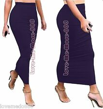 PURPLE High Waisted Tight SLIM Fit Body Club PARTY Pencil LONG Skirt Dress LARGE