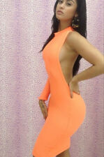 sexy Langarm Bodycon One Shoulder Stretch Kleid rückenfrei Clubwear orange L