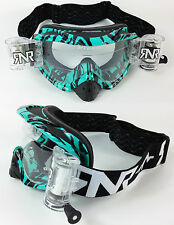 RIP N ROLL MOTOCROSS MX ENDURO GOGGLES HYBRID RnR NEW WILD AQUA fully loaded