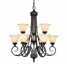 Savoy House 1P-5591-9-16 Chandelier, Amber Glass Shades, Antique Copper Finish